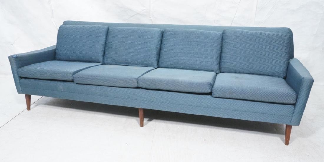 DUX Modern Blue Sofa Couch. Tapered peg legs. Unm
