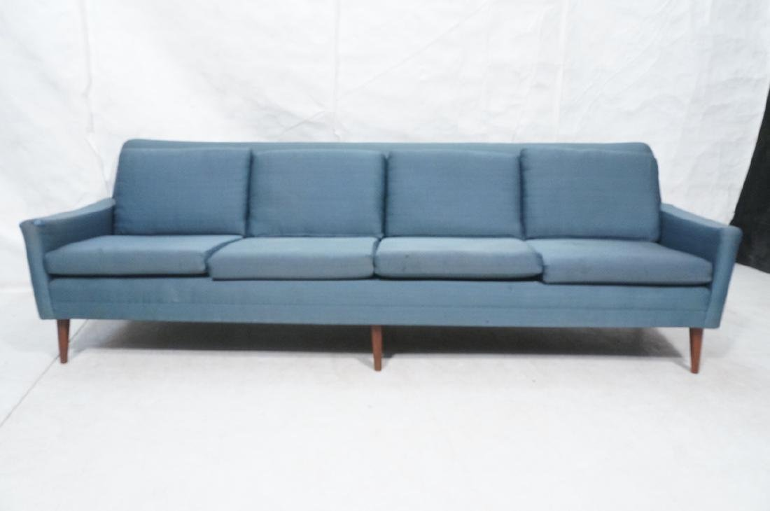 DUX Modern Blue Sofa Couch. Tapered peg legs. Unm - 2