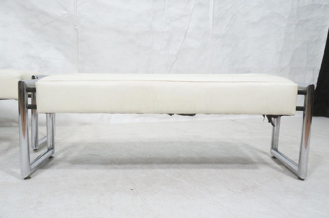 Pr Chrome Vinyl Mid Century Benches. Black iron a - 2