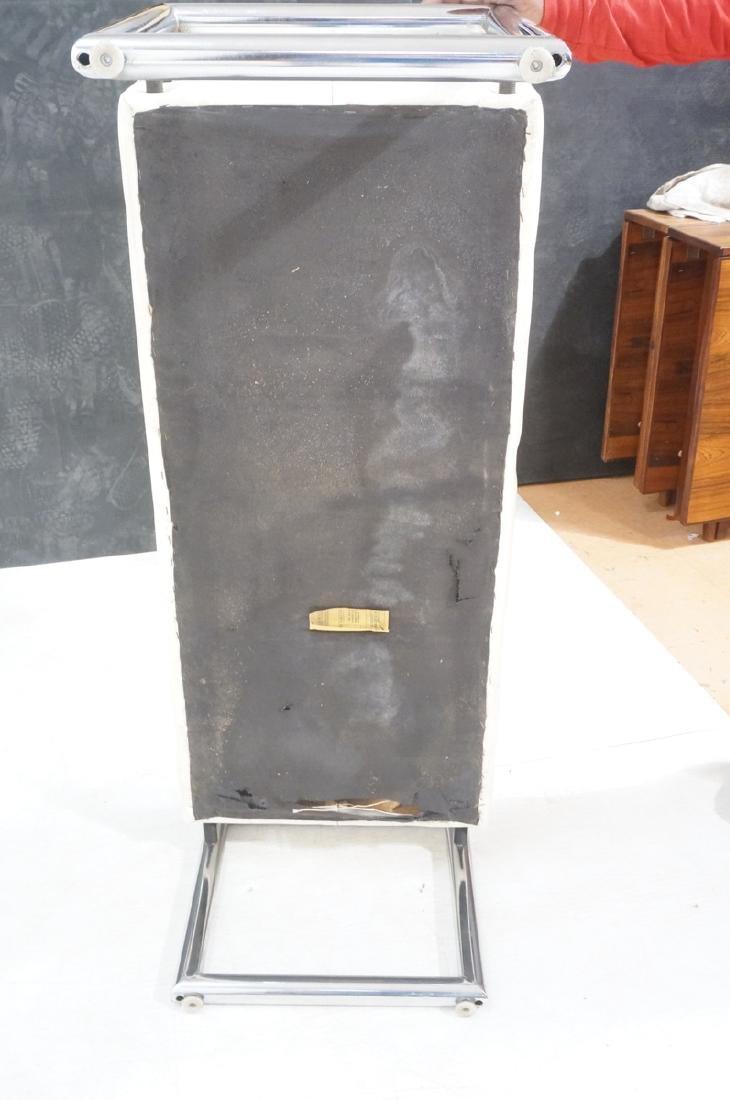 Pr Chrome Vinyl Mid Century Benches. Black iron a - 7