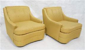 Pr CENTURY Lounge Chairs Striped gold fabric on