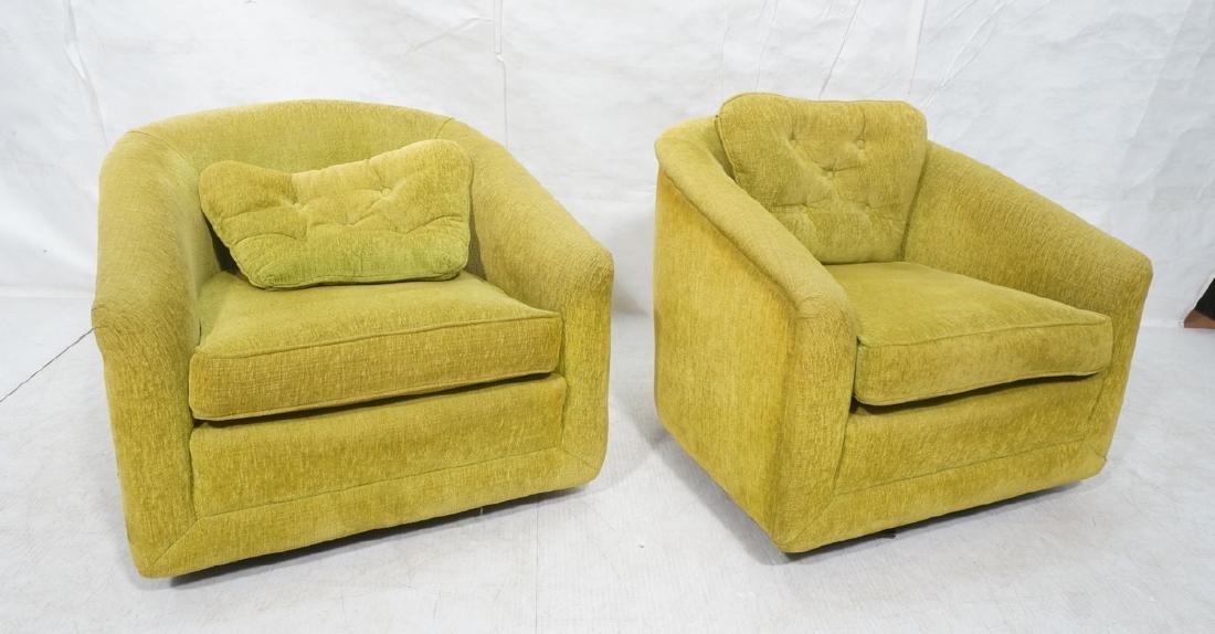 Pr Lime Green Barrel Back Swivel Chairs. Modernis