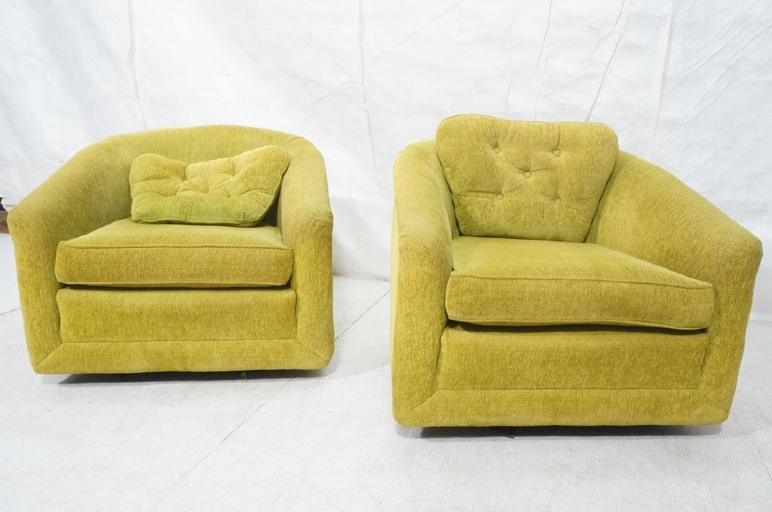 Pr Lime Green Barrel Back Swivel Chairs. Modernis - 2