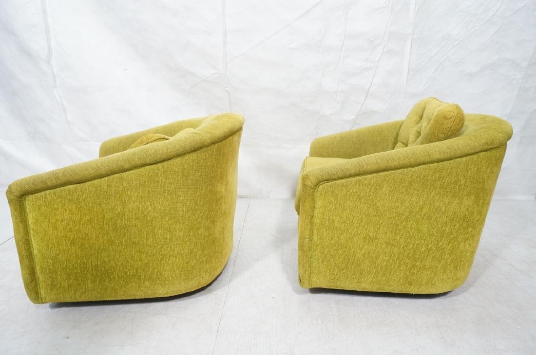 Pr Lime Green Barrel Back Swivel Chairs. Modernis - 3