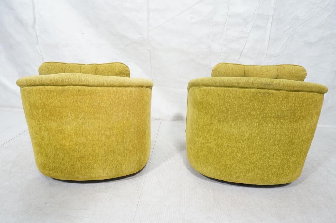 Pr Lime Green Barrel Back Swivel Chairs. Modernis - 4
