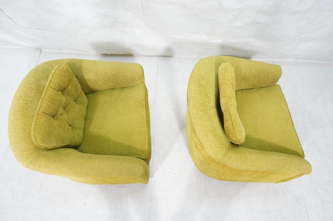 Pr Lime Green Barrel Back Swivel Chairs. Modernis - 6