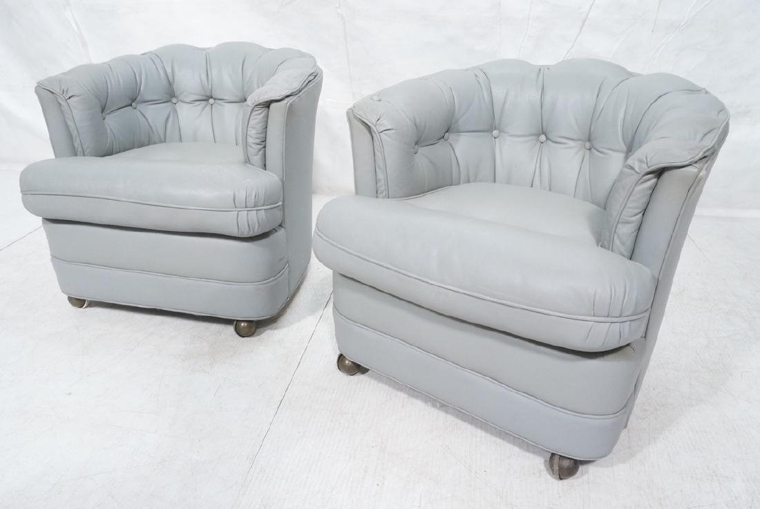 Pr WESTCHESTER Gray Leather Lounge Chairs. Cheste