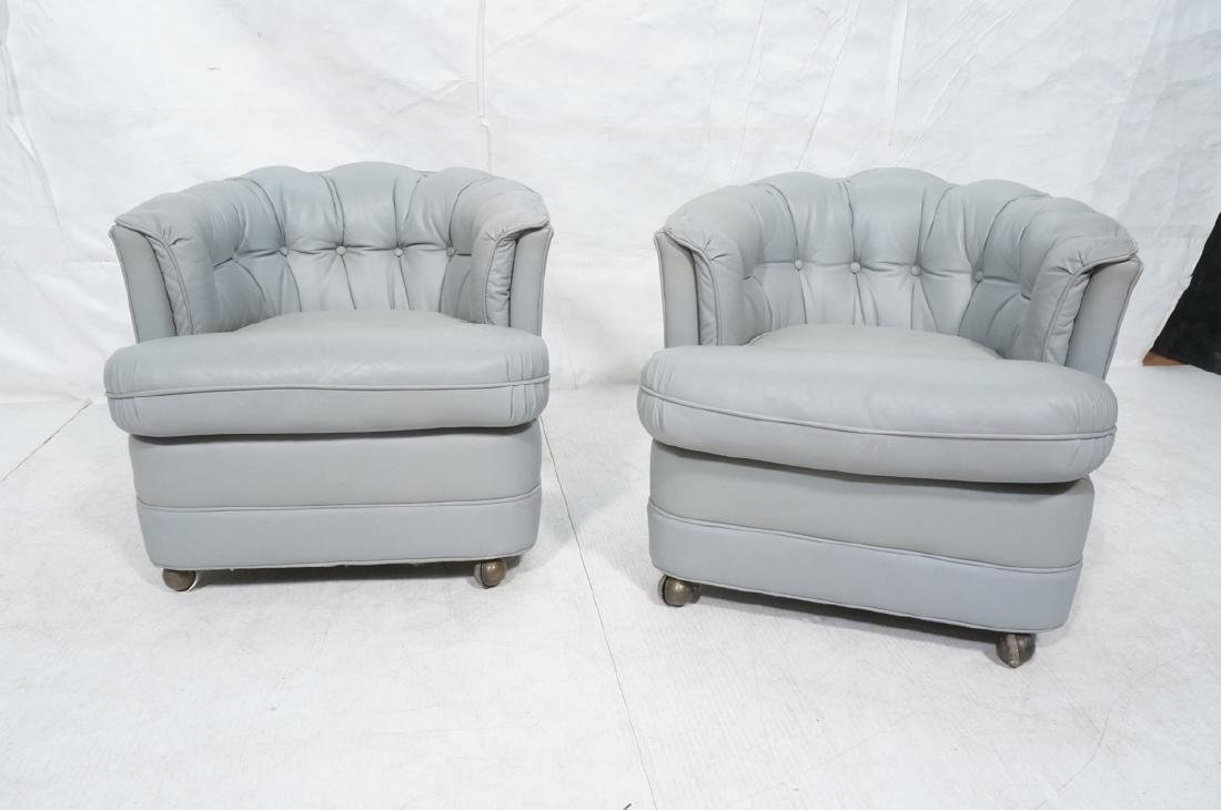 Pr WESTCHESTER Gray Leather Lounge Chairs. Cheste - 2