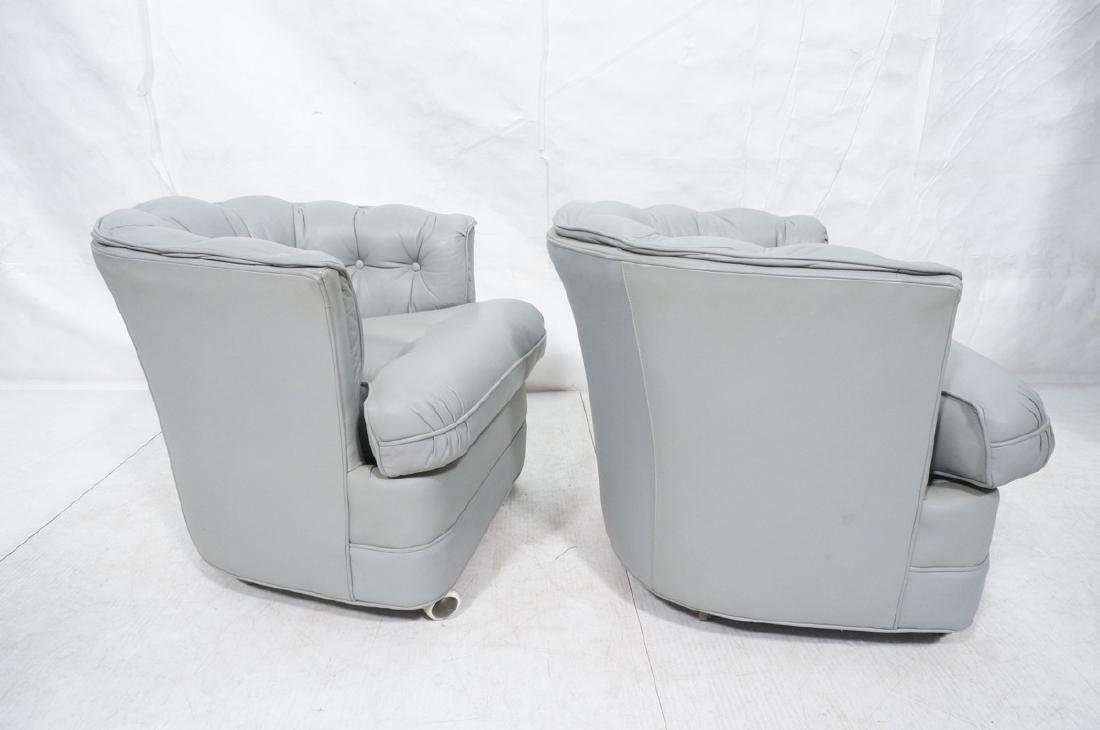 Pr WESTCHESTER Gray Leather Lounge Chairs. Cheste - 5
