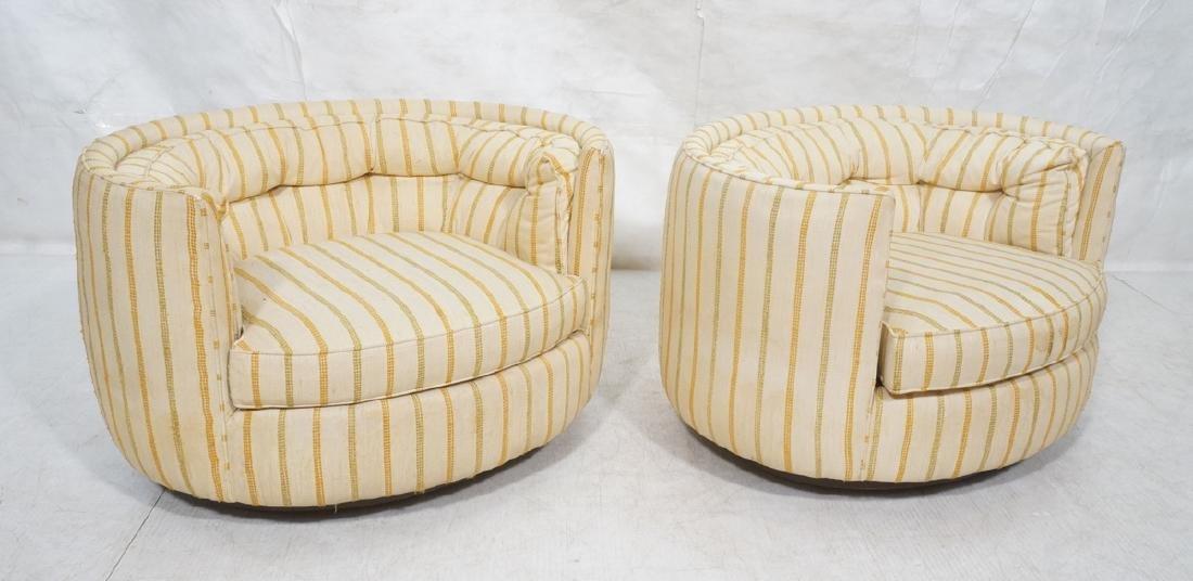 Pr Mid Century Custom Oval Barrel Back Chairs. Tu