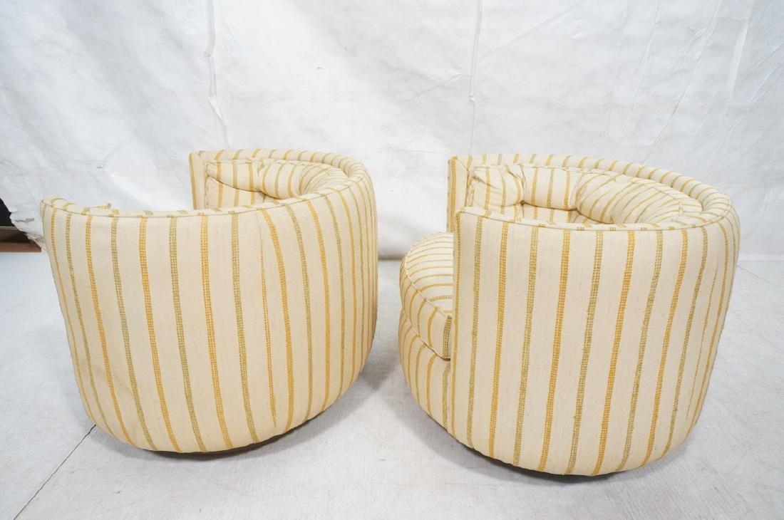 Pr Mid Century Custom Oval Barrel Back Chairs. Tu - 3