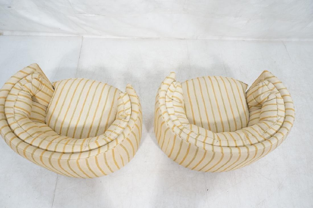 Pr Mid Century Custom Oval Barrel Back Chairs. Tu - 5