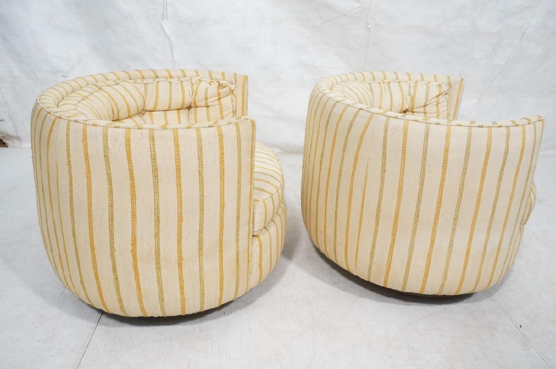 Pr Mid Century Custom Oval Barrel Back Chairs. Tu - 6