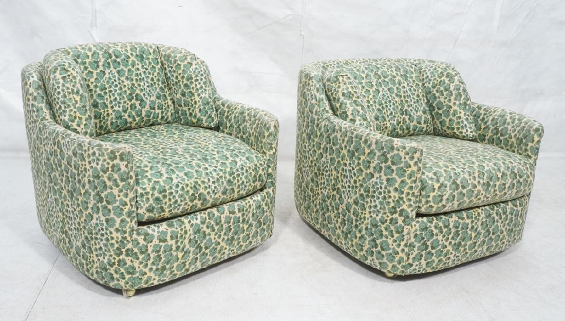 Pr Modernist Fabric Covered Lounge Chairs. Front
