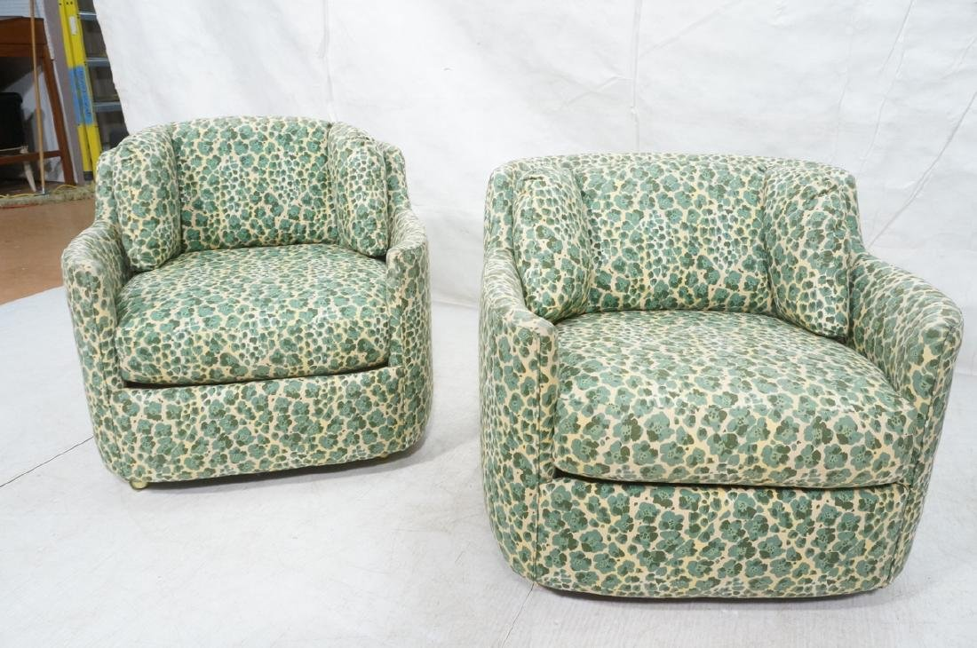 Pr Modernist Fabric Covered Lounge Chairs. Front - 2