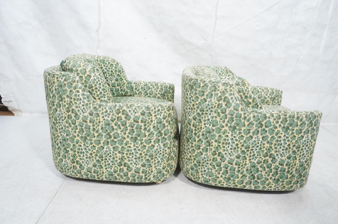 Pr Modernist Fabric Covered Lounge Chairs. Front - 3