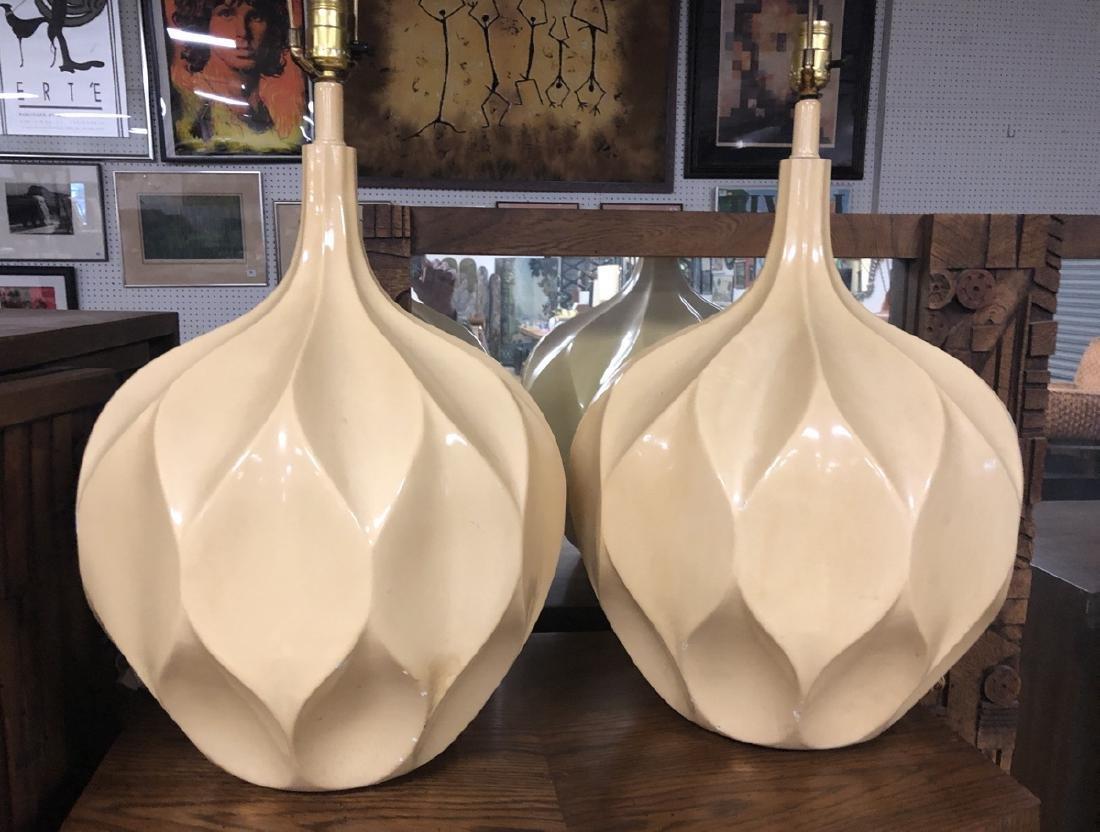 Pr Cast Plaster Modernist Origami Lamp. Large bul