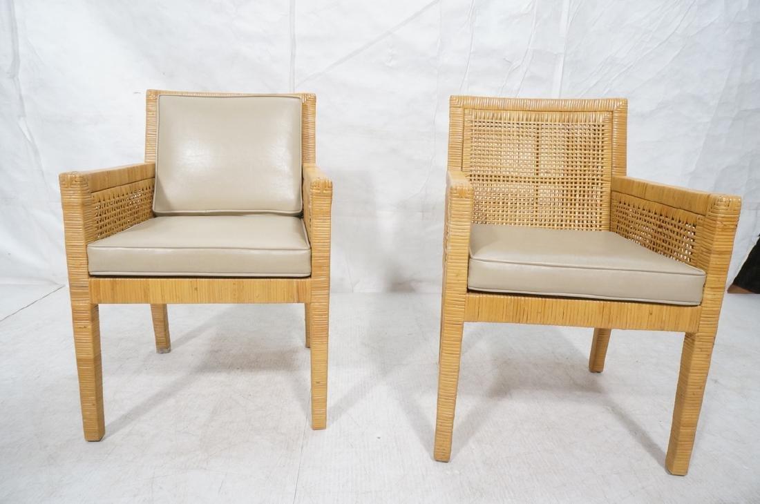 Pr Woven Rattan Arm Lounge Chairs. Beige vinyl se - 2
