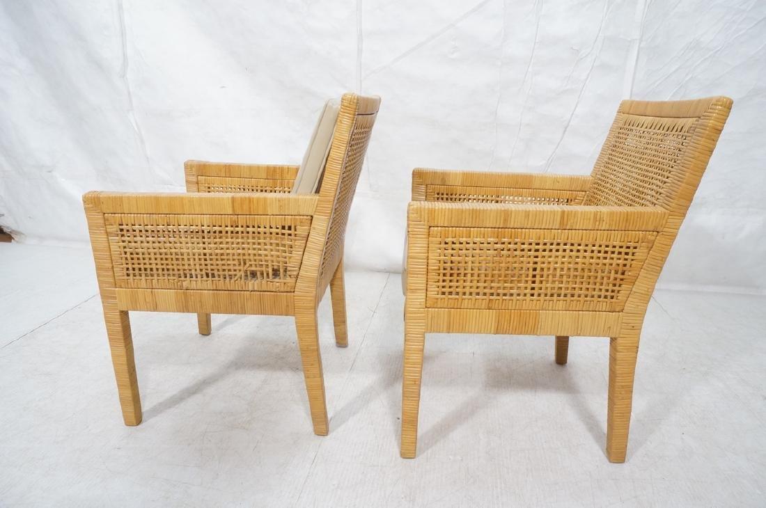 Pr Woven Rattan Arm Lounge Chairs. Beige vinyl se - 3