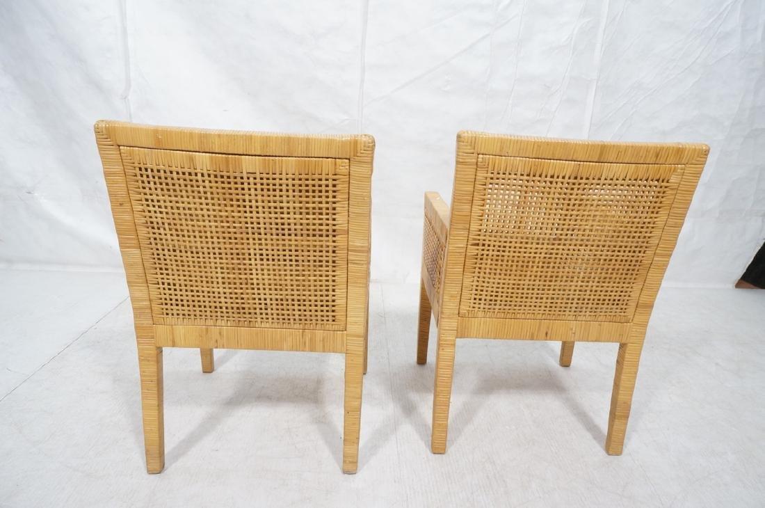 Pr Woven Rattan Arm Lounge Chairs. Beige vinyl se - 4