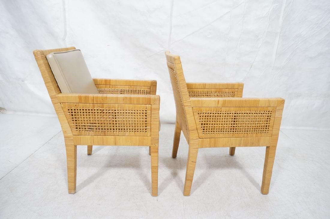 Pr Woven Rattan Arm Lounge Chairs. Beige vinyl se - 5