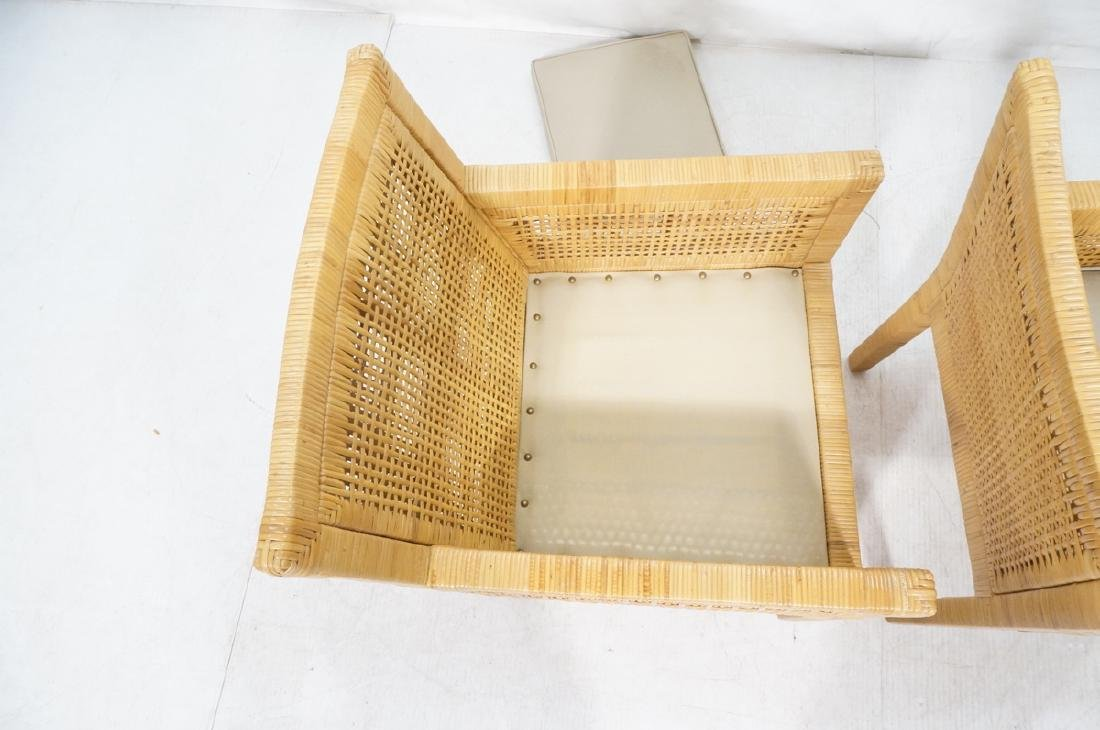 Pr Woven Rattan Arm Lounge Chairs. Beige vinyl se - 7