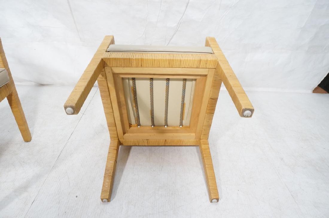 Pr Woven Rattan Arm Lounge Chairs. Beige vinyl se - 8