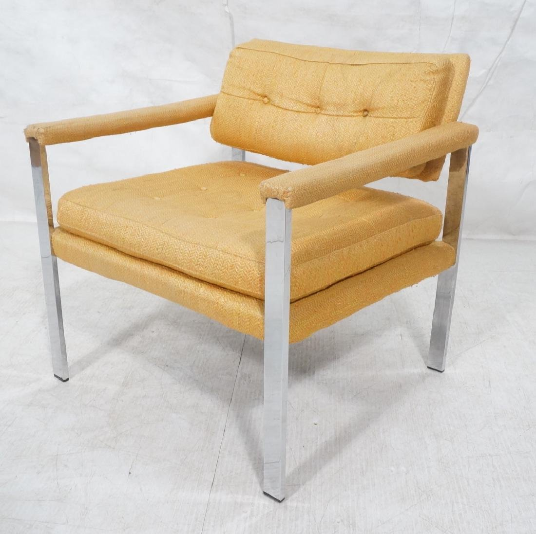 MILO BAUGHMAN Style Chrome Lounge Chair. Orange y