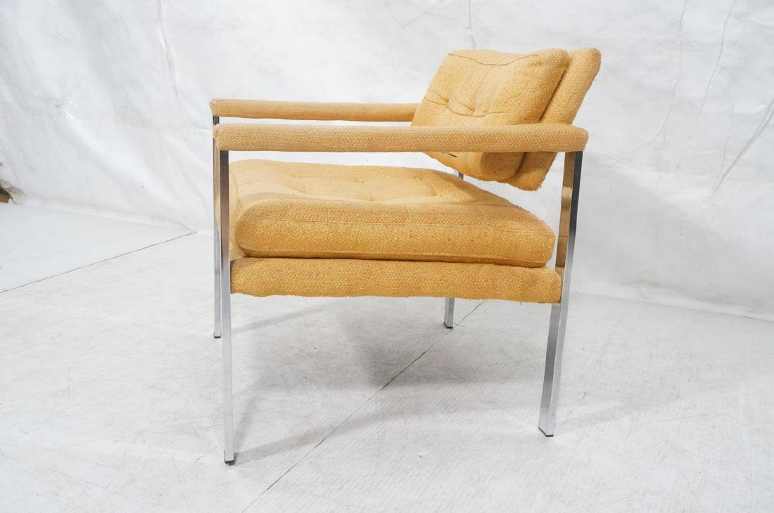 MILO BAUGHMAN Style Chrome Lounge Chair. Orange y - 3