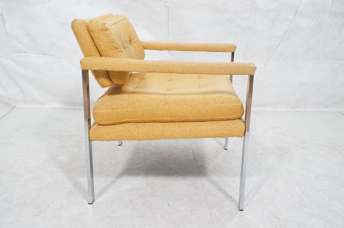 MILO BAUGHMAN Style Chrome Lounge Chair. Orange y - 5