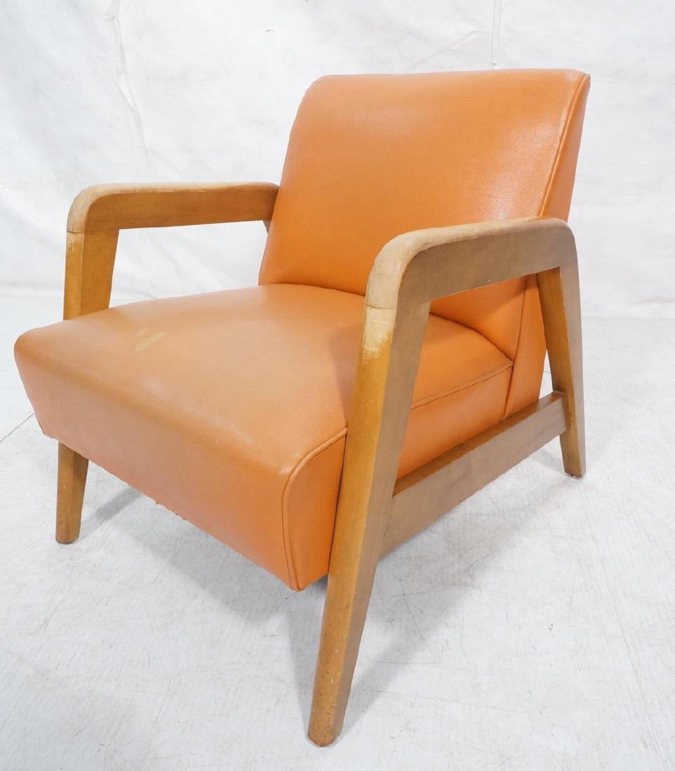 Blond Wood Open Armed Lounge Chair. Vintage chair