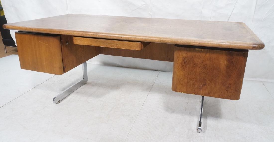Vladimir Kagan Style Desk. Executive Burl Wood Mo