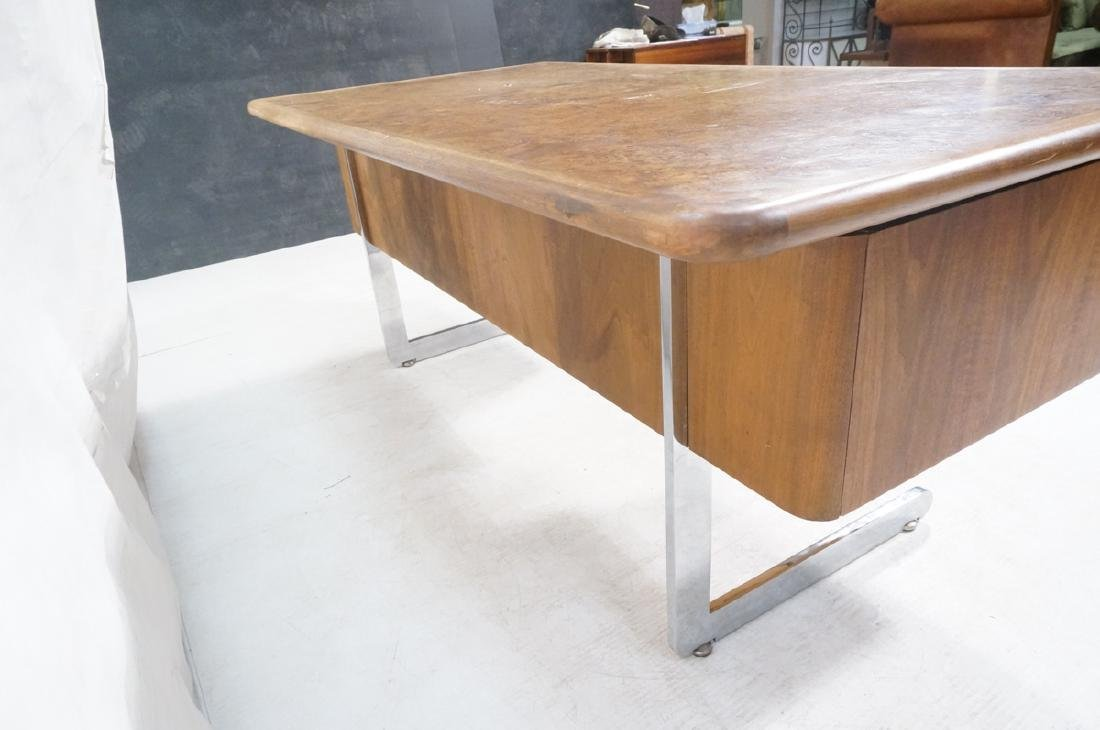 Vladimir Kagan Style Desk. Executive Burl Wood Mo - 5