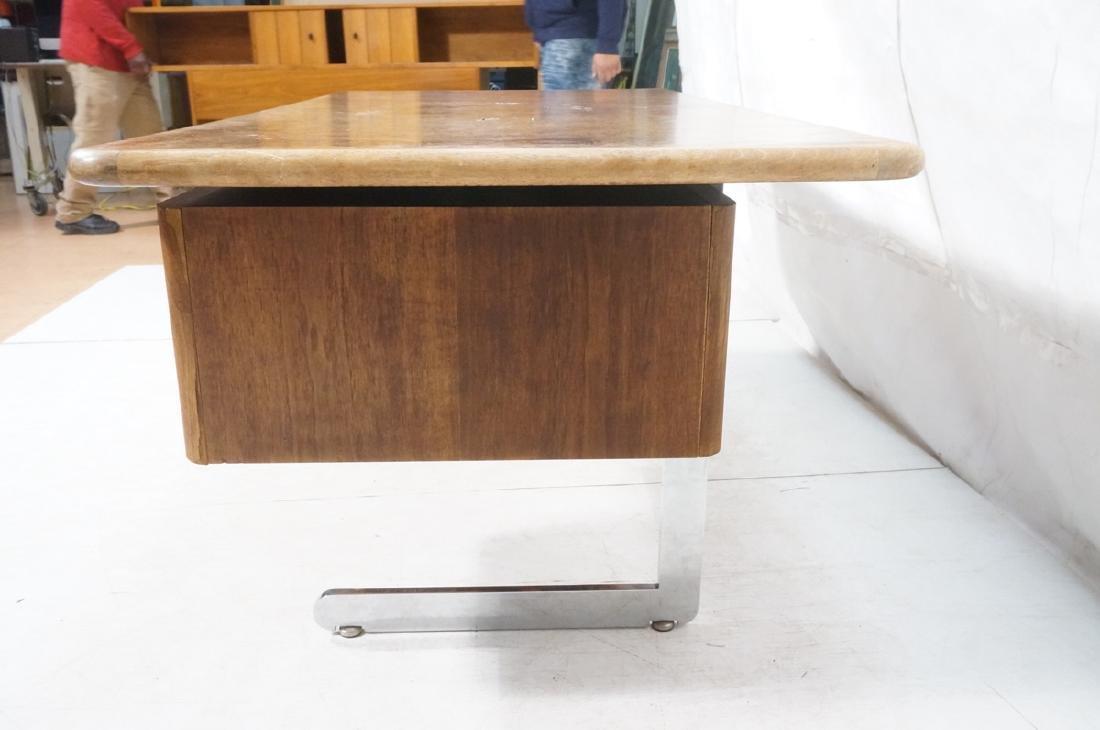Vladimir Kagan Style Desk. Executive Burl Wood Mo - 6