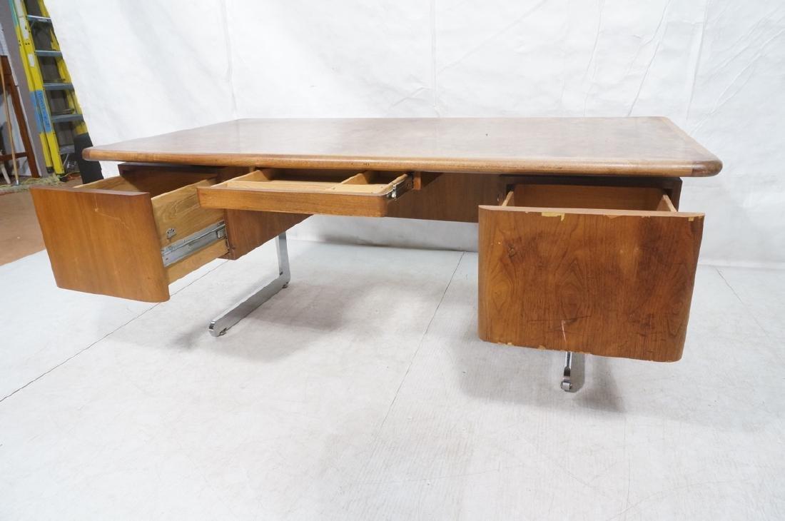 Vladimir Kagan Style Desk. Executive Burl Wood Mo - 7