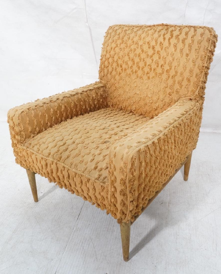Modernist Chenille Upholstered Arm Lounge Chair.