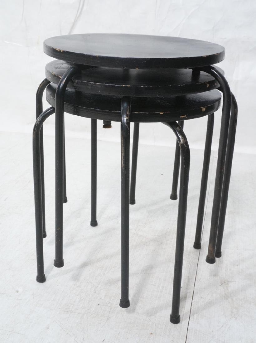 3 Stacking Stools Benches. Black spray painted wo