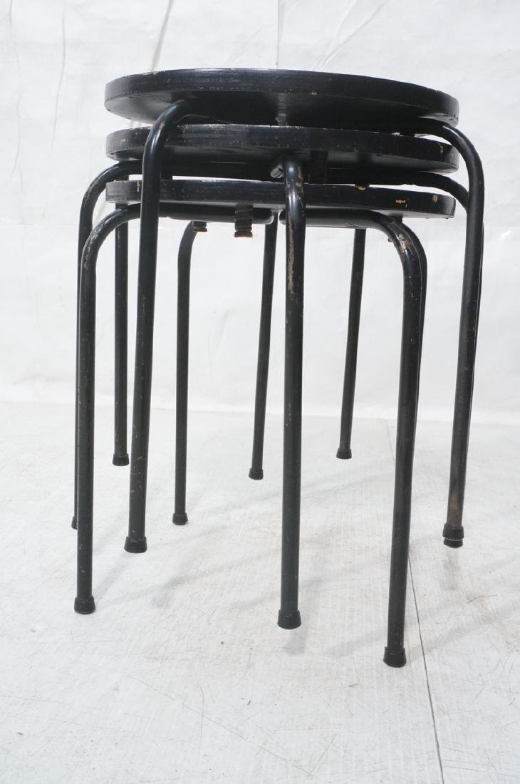 3 Stacking Stools Benches. Black spray painted wo - 2
