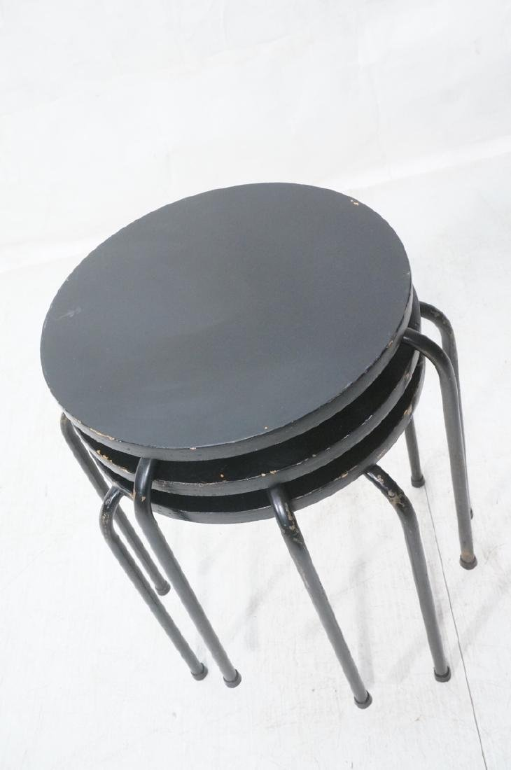 3 Stacking Stools Benches. Black spray painted wo - 3