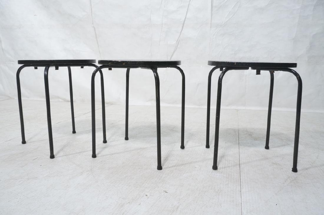 3 Stacking Stools Benches. Black spray painted wo - 5