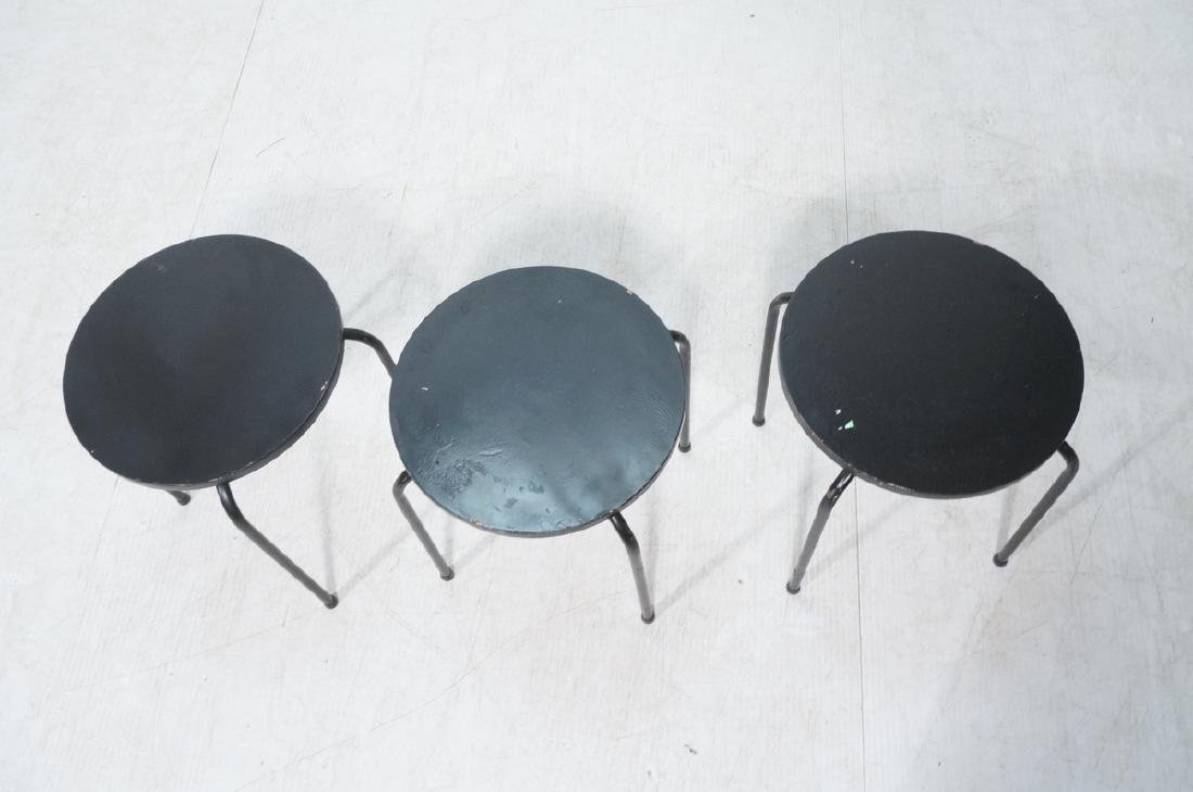 3 Stacking Stools Benches. Black spray painted wo - 6