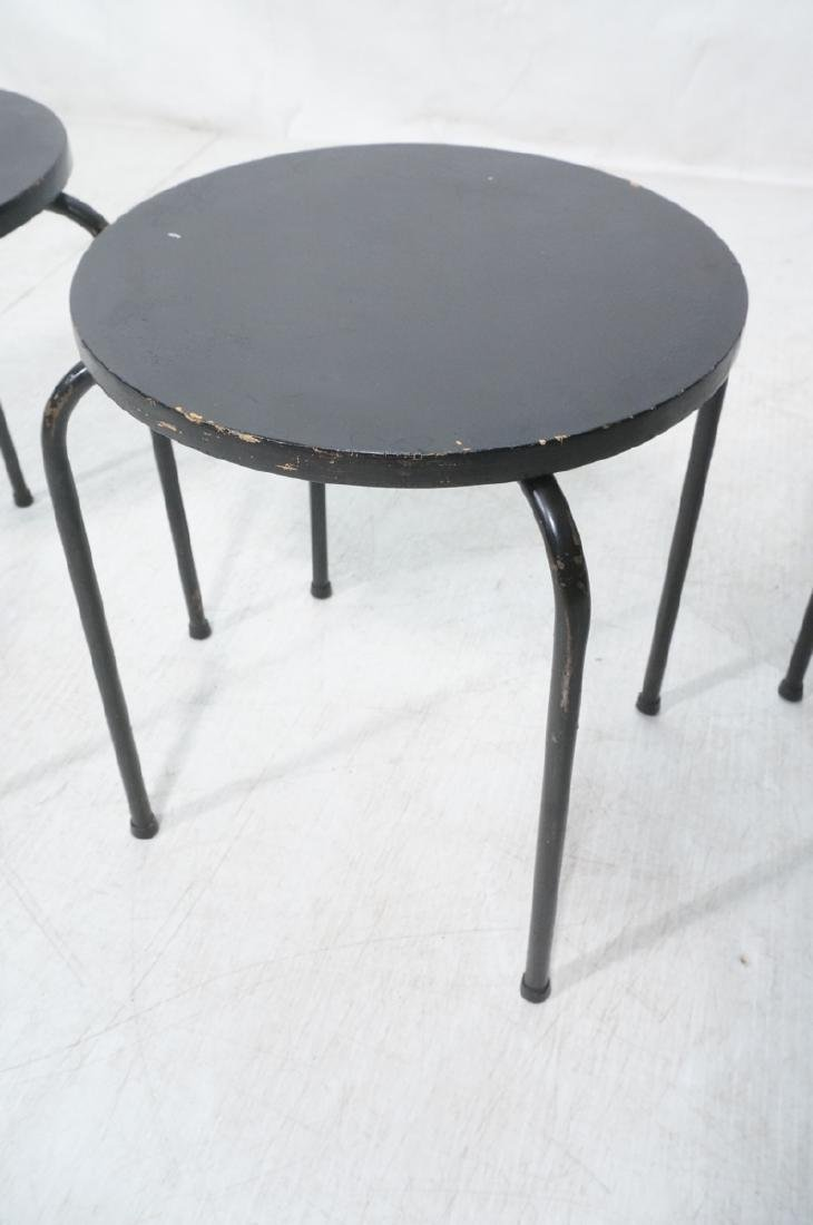 3 Stacking Stools Benches. Black spray painted wo - 7