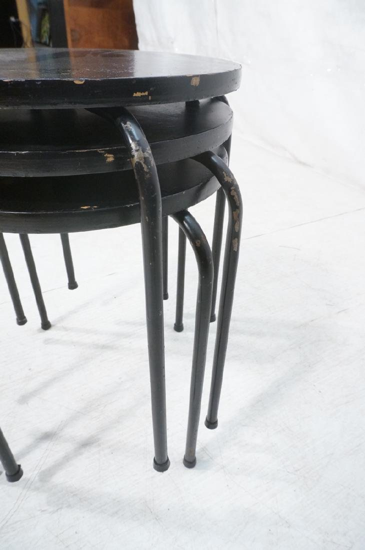 3 Stacking Stools Benches. Black spray painted wo - 8