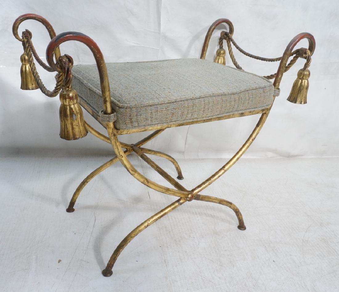 Italian Gilt Metal Bench Seat. Tassel & Rope deta