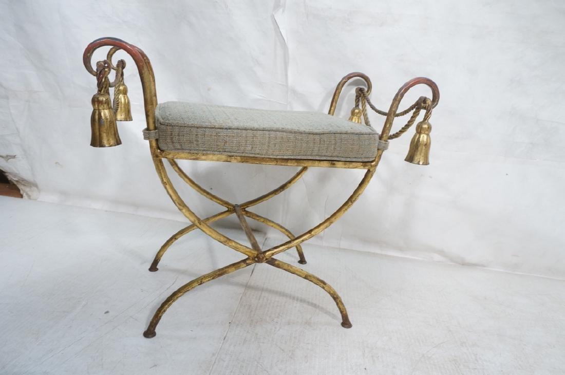 Italian Gilt Metal Bench Seat. Tassel & Rope deta - 2