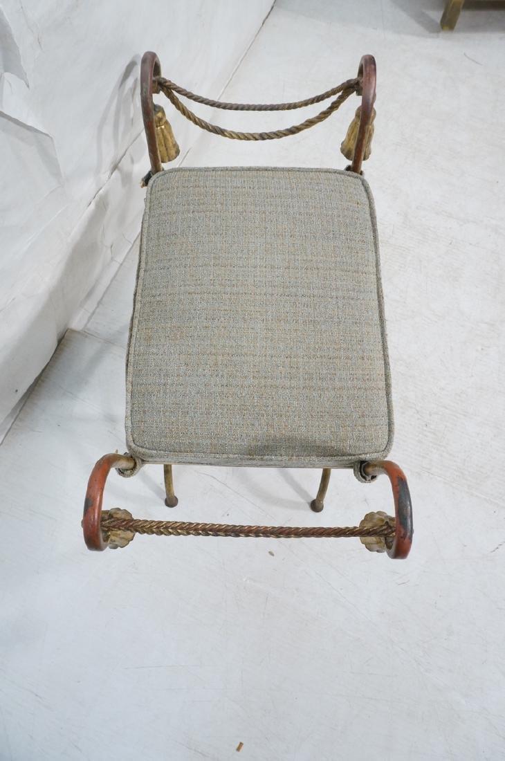 Italian Gilt Metal Bench Seat. Tassel & Rope deta - 4