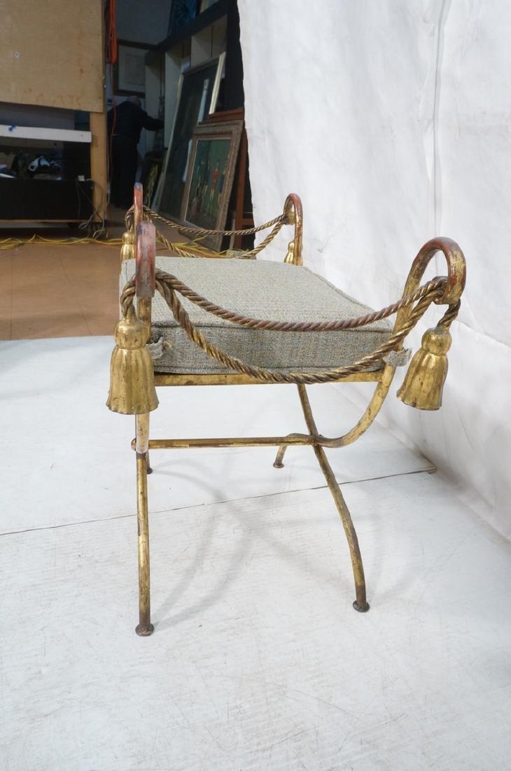 Italian Gilt Metal Bench Seat. Tassel & Rope deta - 5