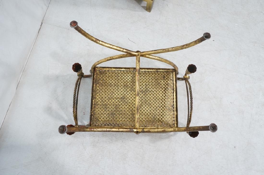 Italian Gilt Metal Bench Seat. Tassel & Rope deta - 7