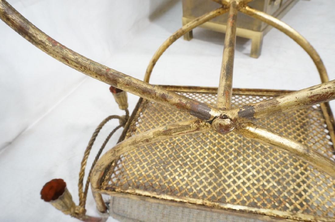 Italian Gilt Metal Bench Seat. Tassel & Rope deta - 8