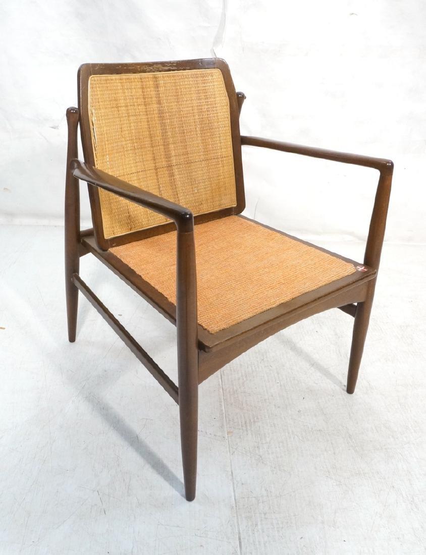 Selig Danish Modern Dark Wood Open Arm Chair. Wov